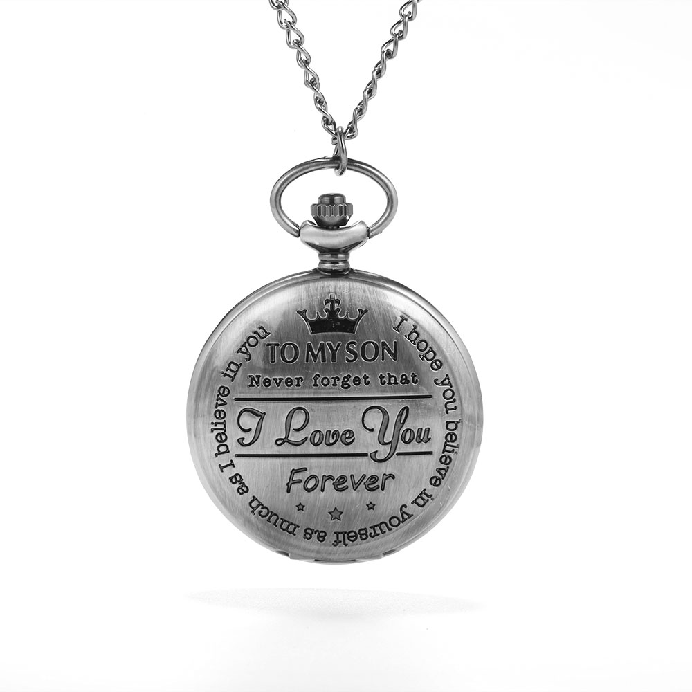 Golden English Lettering Large Pocket Watch Trend Personality Creative Gift Value Exquisite Flip Pocket Watch