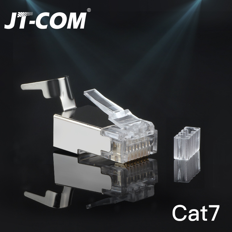 CAT6a CAT7 RJ45 Connector 50/100PCS FTP 8P8C Modular Plug, 10Gbps Network Crimp Shield Crystal Head terminal UTP Ethernet Cable image