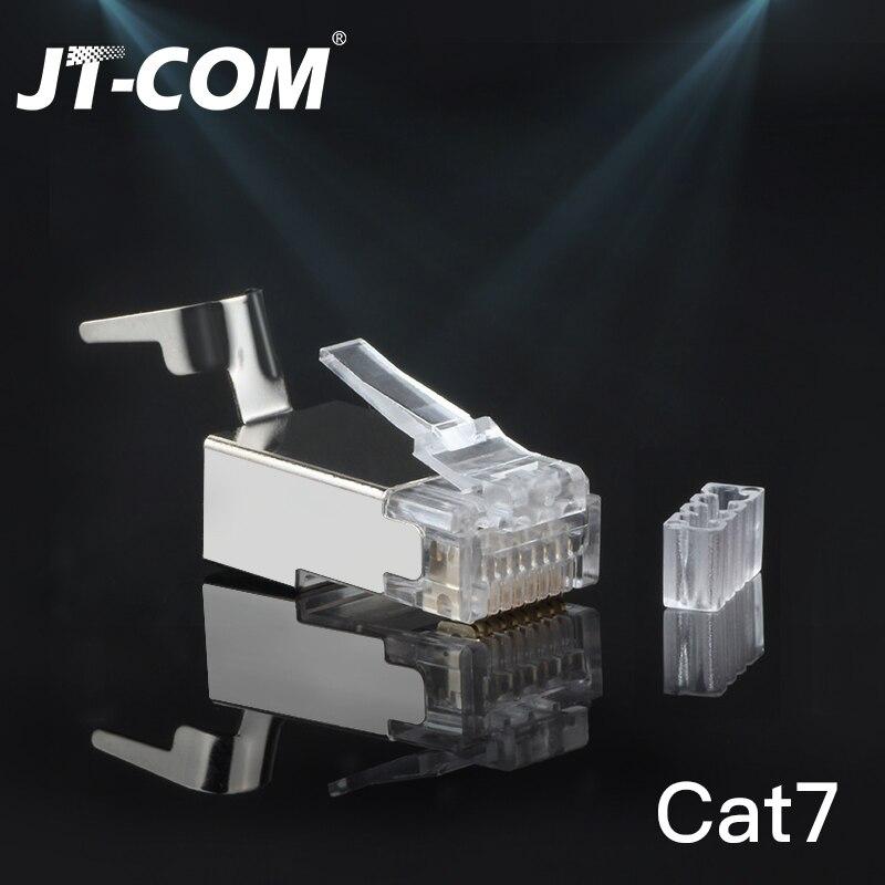 CAT6a CAT7 RJ45 Connector 50/100PCS FTP 8P8C Modular Plug, 10Gbps Network Crimp Shield Crystal Head Terminal UTP Ethernet Cable