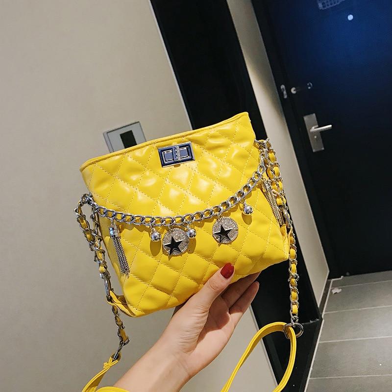 New Arrival Graceful Bag GIRL'S New Style INS Super Fire Chain Rhombus Fairy Shoulder Simple Versatile Bucket Bag