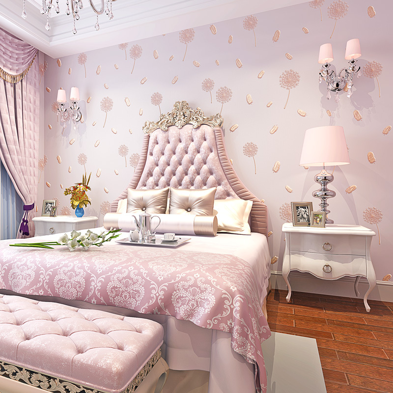 3D Coining Bump Pink Dandelion Feather Bedroom Living Room Wallpaper Fresh Pastoral Style Nonwoven Fabric CHILDREN'S Room Wallpa