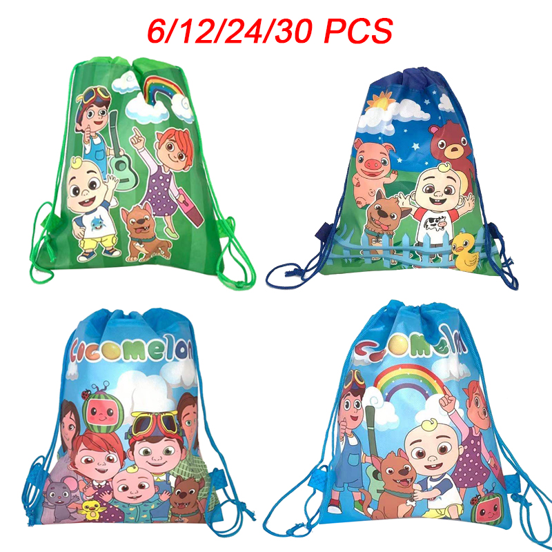 Cocomelon Family Party Bags For Kids Birthday Drawstring Backpack Non-Woven Fabric Child School Bag Organizer Pouch Laundry Bag
