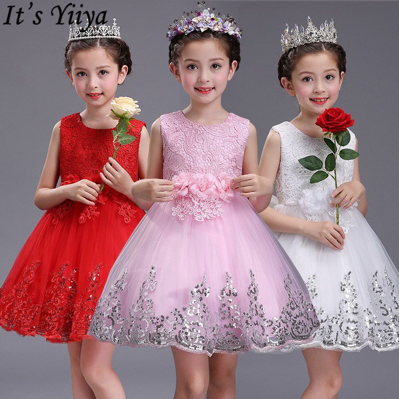 It's YiiYa Flower Girl Dresses 6 Colors Sleeveless O-Neck Lace Bow Communion Pageant Dresses Kids Party Dresses For Girls 575