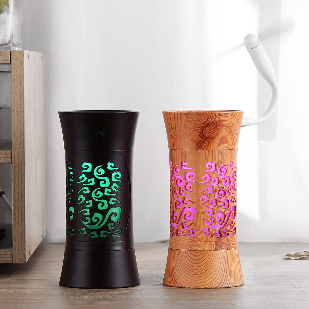 Wood Grain Home Air Humidifier USB Ultrasonic Aroma Essential Oil Diffuser 3 In 1 Mini Humidificador With LED Lamp Mist Maker