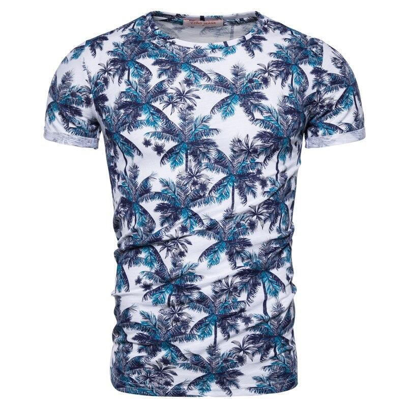 2020 New Summer 100% Cotton Print T-shirt Men Casual Hawaii Style Men T Shirt O-neck Tshirt Men High-quality Design Tops Tees
