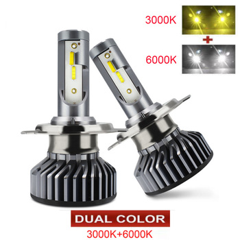 Dual Color [ 2020 NEW ] the Brightest LED Car Headlight Bulbs H1 H4 LED H7 H11 HB3 HB4 H8 Fog Lamps Auto H4 Motorcycle Light 12V image