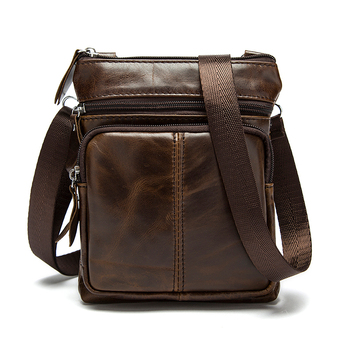 Messenger Bag Men's Shoulder Genuine Leather bags Flap Small male man Crossbody bags for men natural Leather bag bullcaptain new men bag genuine leather man brand crossbody shoulder bag small business bags male messenger leather bags