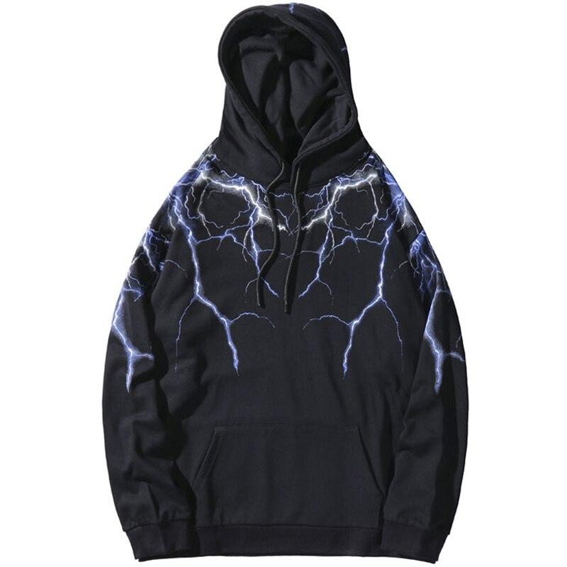 Hip Hop Lightning Print Hooded Sweatshirts Hoodies Streetwear Fashion Casual Punk Hipster Harajuku Tops Hoodie Outwear Q6295