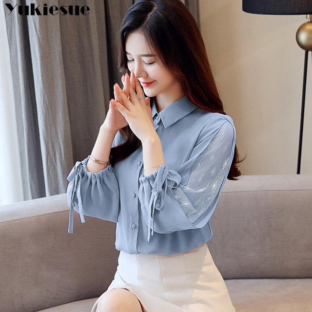 Women 2021 Spring New Long Sleeve lace patchwork Chiffon Blouses Female Fashion V-neck Solid Shirts Ladies Loose Casual Tops 4
