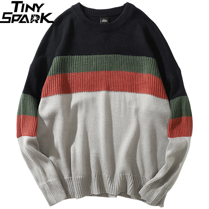 Color Block Patchwork Sweater Pullover Hip Hop Men Knitted Sweater Retro Vintage 2019 Streetwear Striped Sweater Cotton Autumn