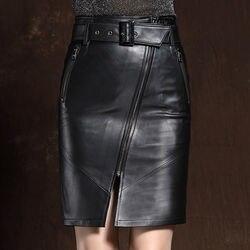 2020 mujeres de cuero genuino faldas fajas cremalleras de alta cintura Slim Sheepskin Midi largo Sexy faldas de cuero señoras negro Streetwear