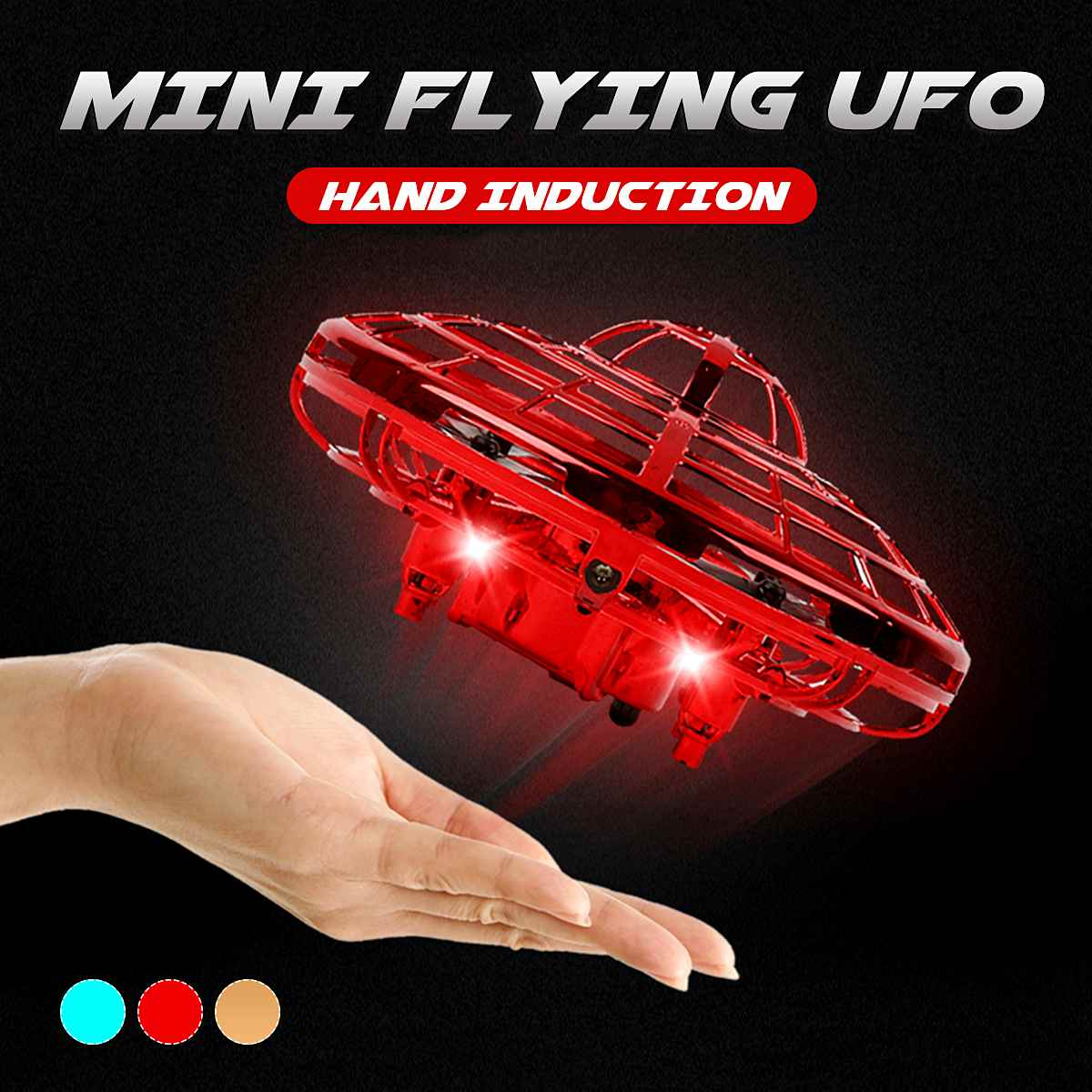 Mini Gesture Sensor UFO RC Aircraft LED Drone Intelligent Suspension Toy Boy Girl Toys Flash Fly Disc Kids Gift Outdoor Toys