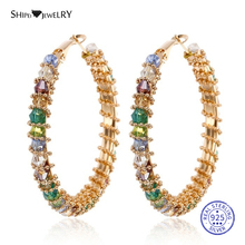Shipei Multi Crystal Large Gold Hoop Earrings for Women Big Sterling Silver 925 Wedding Party Birthday Gift