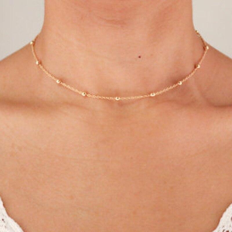 Модная цепь, модное короткое позолоченное ожерелье-чокер с маленькими шариками для женщин, цепочка до ключиц с серебряной тарелкой, оптовая...