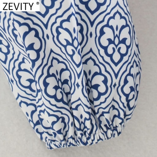 Zevity Women Vintage Totem Floral Print Big Swing Ruffles Mini Shirt Dress Female Chic Breasted Lace Up Sashes Vestidos DS8133 6