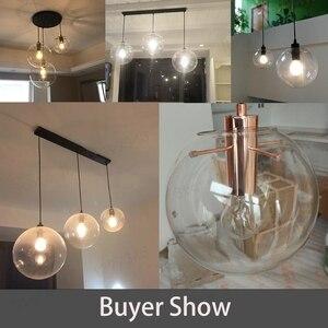 Image 4 - GZMJ הפלאות מודרני שחור ברור זכוכית כדור תליון מנורת מסירת אור ברק LED זכוכית כדור בר מטבח באיכות גבוהה