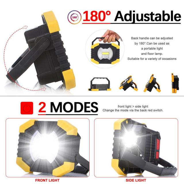 100W Led Portable Spotlight 8000lm Super Bright Led Work Light Rechargeable for Outdoor Camping Lampe Led Flashlight 4