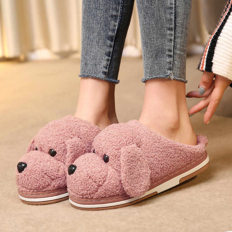 YMECHIC Plus Size 10 Cartoon Hond Faux Bont Slippers Winter Huis Muilezels Schoenen Vrouwen Roze Abrikoos Warm Indoor Home slides 43