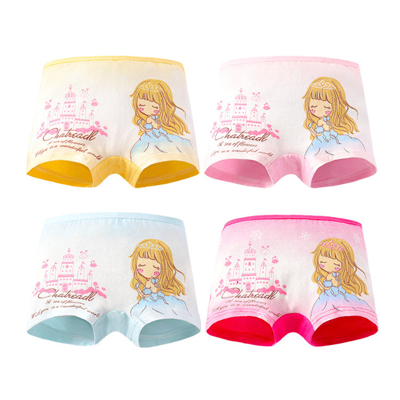 4Pc/Lot Girls Briefs Kids Underwear Panties Triangle Pants Suitable for 2-10 Years 1