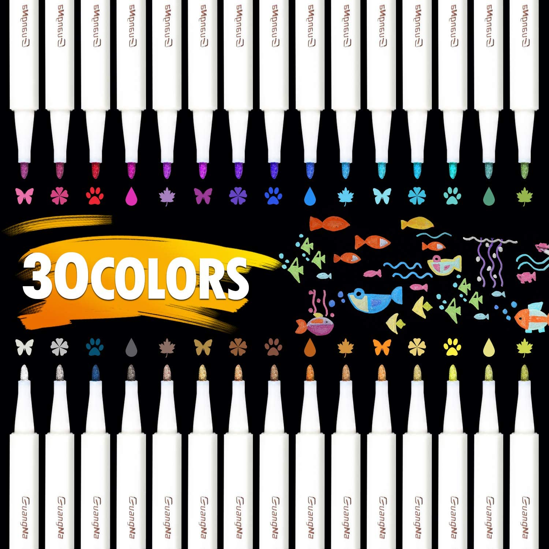 30 cores metálico mícron caneta marcação detalhada cor marcador de metal para álbum de papel preto desenho escola arte suprimentos