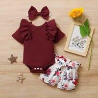 Conjunto de 3 uds. De ropa de verano para bebé recién nacido, Pelele con volantes, pantalones cortos florales, Diadema con lazo, atuendo para niñas pequeñas
