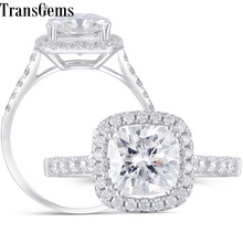 Transgems Center 2ct Halo Moissanit Engagement Ring 14K 585 White Gold 7.5MM Sqaure Cushion Cut FG Color Moissanite Ring Wedding