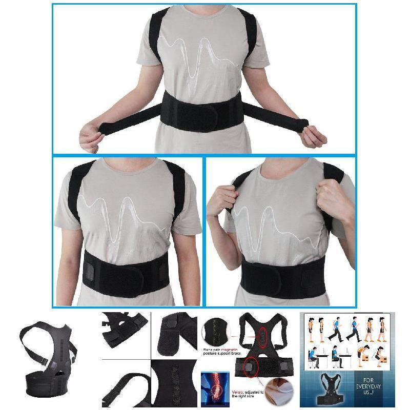 New Adjustable Posture Corrector Male Female Magnetic Back Support Nylon Elastic Shoulder Back Brace Belt 5