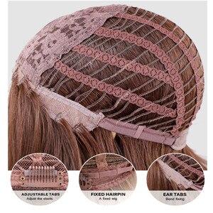 Image 5 - Jonrenau合成オンブル茶色の混合ブロンドかつら前髪ロング自然なウェーブヘアー白人/黒女性