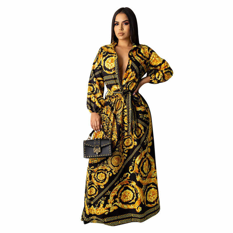 BOhe Black Gold Printed High Wasit Loose Maxi Dress Indie Folk Women's Turn-Down Collar Button Up Vestidos Shirt Robes