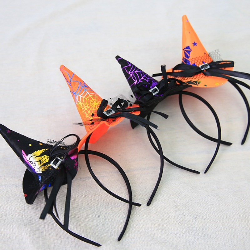 Women Girls Witch Hat Headband Halloween Hair Hoop Lace Bowknot Party Costume