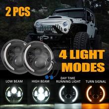 SUHU LED Headlight 140W 14000LM For Jeep Wrangler JK LJ TJ CJ 7 Inch Round LED Headlamp Work Lamp Halo Angle Eye Bar Accessories