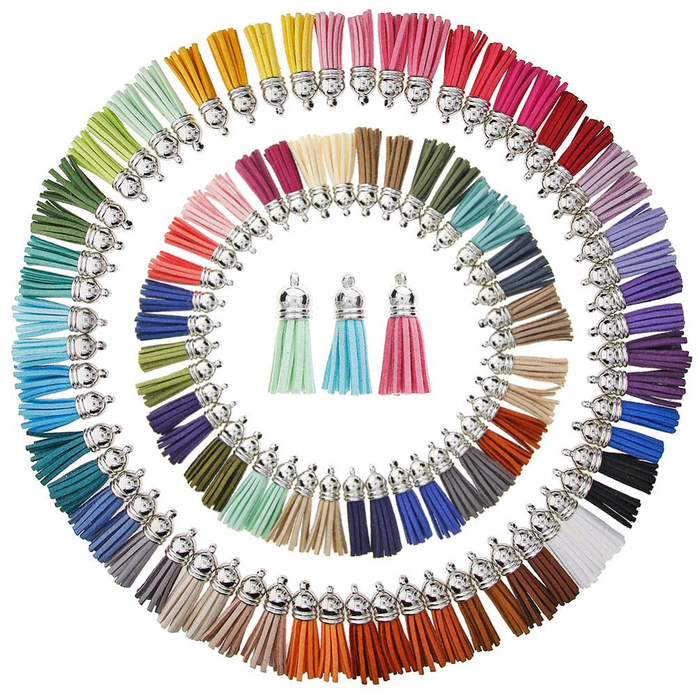 100/60 штук, 50/30 цветов, 40 мм, Кожаные Подвески с кисточками, искусственная замша, кисточка с колпачками для брелоков, ремни, аксессуары для DIY