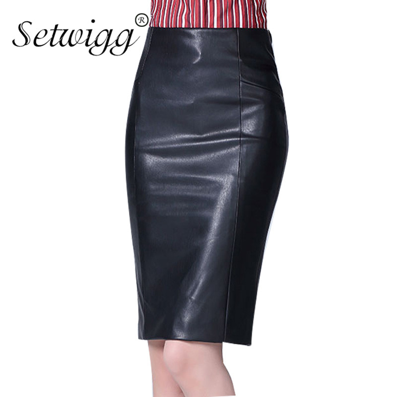 SETWIGG High Quality PU Leather Pencil Skirts Empire Waist Zipper Spring Black Faux Synthetic Leather Bodycon Office Skirt SG10 image
