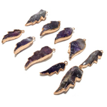 Wholesale Fashion Natural Stone Pendants for Jewelry Making Supplies Purple Wing Shape Crystal Pendant Necklace