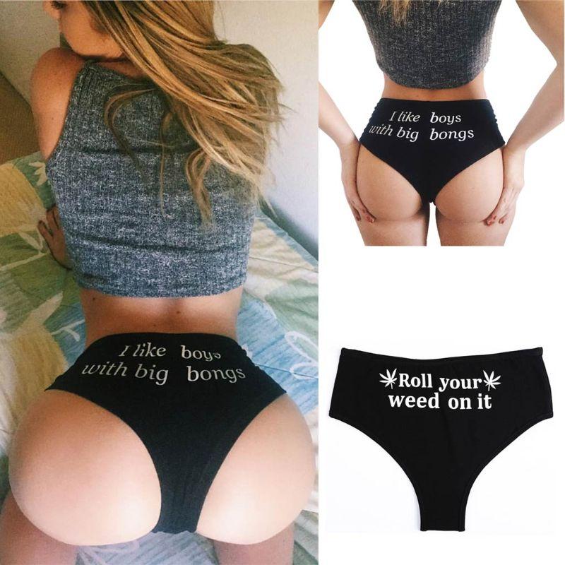 Women Sexy Push Up High Cut Underwear Funny Letter Print Lingerie Panties Brief High Waist G-String Bikini Bottoms Thong Knicker