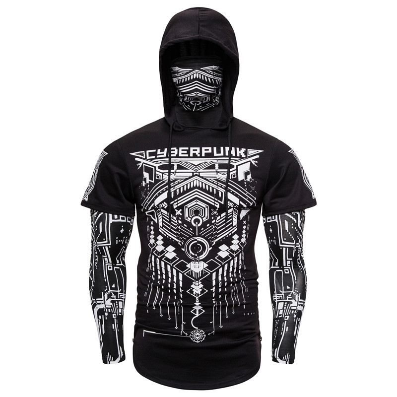 Men's Summer Hoodies With Mask Black Blue Gray Elasticity Printing Sweatshirts Cotton Short Sleeve Moto Biker Style Cool Hoodies