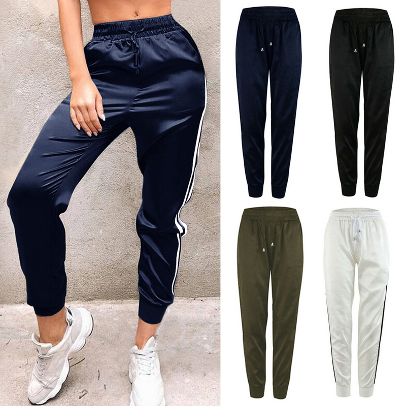 Casual Women Sport Pants Elastic Waist Loose Drawstring Pencil Pantalon Femme Striped Gym Trousers Stretch Stretch Joggers in Pants amp Capris from Women 39 s Clothing