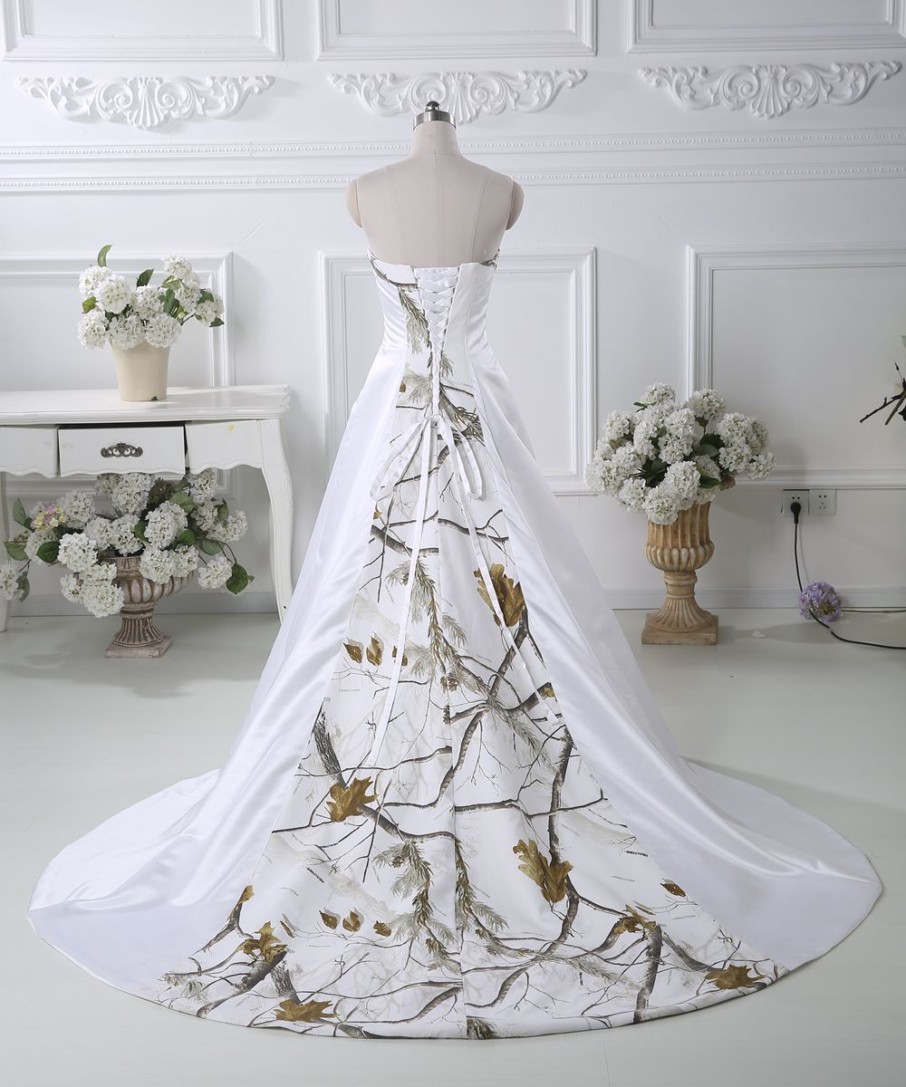 2019 White Ball Gown Camo Wedding Dresses Beaded Lace Up Camouflage Bridal Gowns Custom Size Wedding Dresses Aliexpress