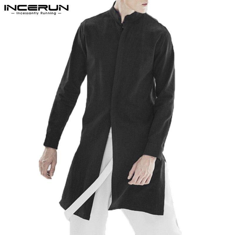 INCERUN Men Shirt Long Sleeve Stand Collar Cotton Vintage Top Men Solid Indian Style Casual Streetwear Men Long Shirt Hombre 5XL