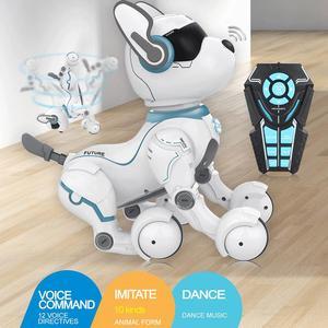Perro Robot de trucos inteligente con Control remoto, ciencia de programación inteligente, Educación Temprana, Perro Robot de baile inteligente, juguete para chico, regalo