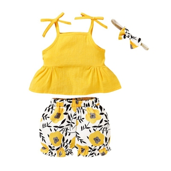 2017 new summer baby clothing set cotton cute pattern vest New Summer Baby Newborn Girls Vest Tops Floral Print Shorts Set Toddler Shorts Outfit Clothing Set