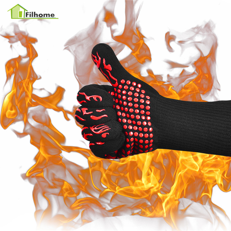 Filhome Ofen <font><b>BBQ</b></font> Handschuhe 800 Celsius Extreme Hitze Beständig Silikon Mikrowelle Küche Handschuhe Kochen <font><b>Grill</b></font> Ofen Handschuhe Paar image