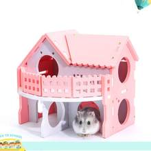 Cute Small Animal Cages Rabbit Hamster House Single-Double layer Skateboard Spinning Wheel Hamster Gerbil Mouse Pet Cage House(China)