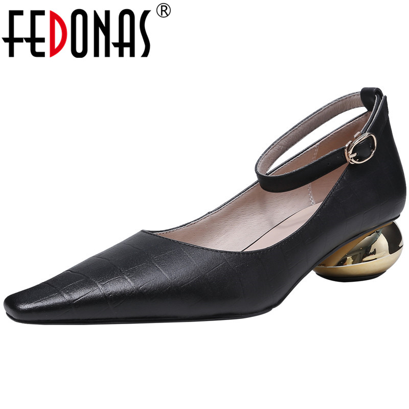 FEDONAS  Women Pumps Cow Leather Party Shoes Night Club Shoes Spring Summer Metal Decoration Square Toe Vintage Shoes Woman