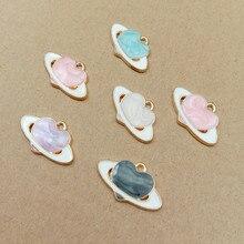 10pcs/lot 13x21mm Heart Enamel Satellite Charm Oil Drop Pendant Charms Gold Color Tone Metal DIY Bracelet Necklace Accessories