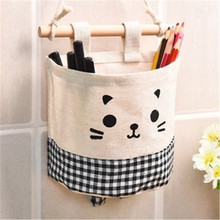 2019 new cartoon cat free combination small hanging bag cotton linen wall storage