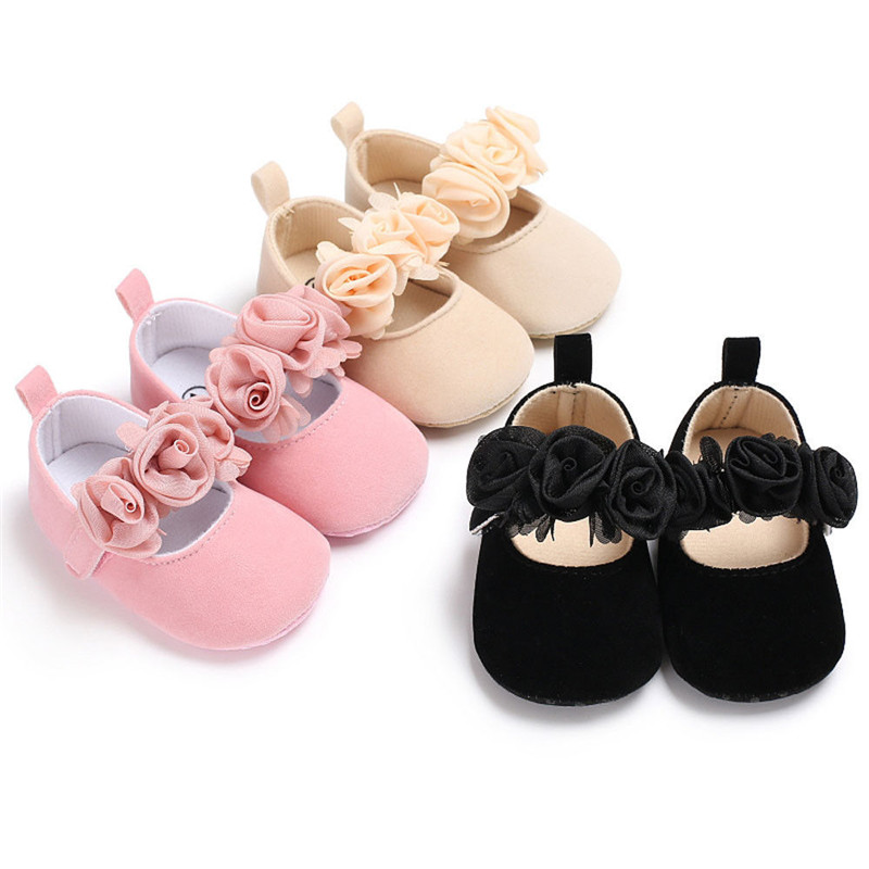 Spring Autumn Baby Newborn Toddler Girls Crib Flower Shoes Pram Soft Sole Prewalker Anti-slip Sneakers 3 Colors