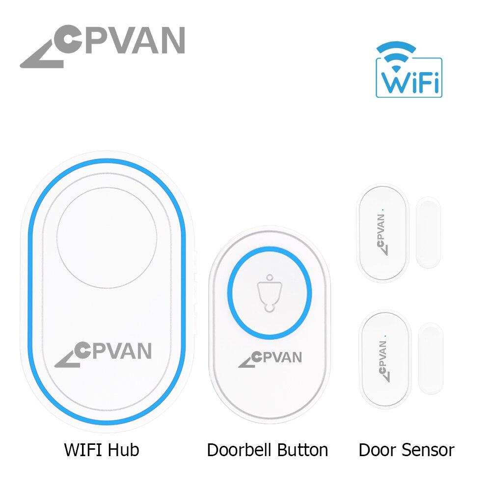 H609f032ad37d4e2883cd07b4afef59778 - CPVAN Wireless Doorbell Alarm System Smart WIFI Doorbell Strobe Siren Tuya App 58 Sound Compatible Home Security Alarm System