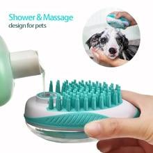 Cão de estimação escova de banho 2-em-1 pet spa massagem pente macio silicone cães gatos chuveiro cabelo grooming cmob cão ferramenta de limpeza suprimentos para animais de estimação