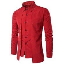 Oeak, новинка, мужские рубашки из двух частей, одноцветные, повседневные, приталенные, однобортные, рубашки с длинным рукавом, деловые рубашки